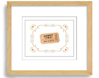 Unique Engagement Gift Art Print Personalized Wedding Decor for Couples Happy Ticket Bridal Shower County Fair