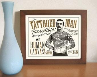 Tattoo Art Bar Art Tattoo Parlor Ink Sideshow Art Circus Poster Tattooed Man Carnival Art Illustrated Ink Rockabilly