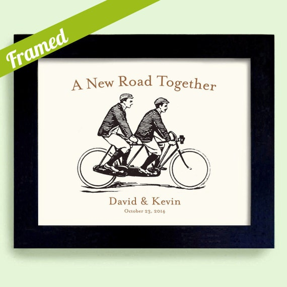 Gay Wedding, Framed Personalized Wedding Gift, For Gay Couple, Bicycle ...