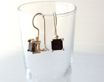 garnet jewelry, sterling silver garnet earrings, vintage square silver and  garnet jewelry, birthstone january