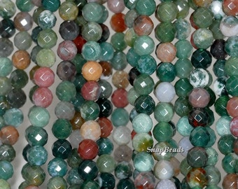 4mm Moss Agate Gemstone Faceted Round 4mm Loose Beads 15 inch Full Strand (90189150-90)