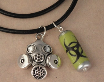 Biohazard Canister & Gasmask Black Leather Thong Necklace For The Walking Dead Zombie Apocalypse - Men's Unisex Necklace - Zombie Jewellery