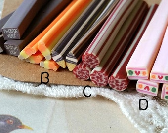 5 cm Long Polymer Clay Cane / Fimo Cane Stick / Miniature Food / Dessert / Cake / Decoration and Nail Art / Patterns as per picture  (.tu)