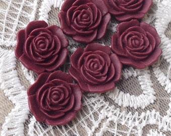16 mm Flat Back Umber Red Color Rose Resin Flower Cabochons (.am)(ZZB)