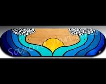 Wave Art   Beach Decor   Skateboard Art   Surf Art   Ocean Painting   Hawaiian Decor   Ocean Decor   Skateboard Decor   Ocean waves   Surf