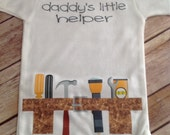 Daddy's Little Helper Toolbelt Baby One Piece or Shirt - You choose text color