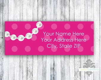 Return Address Labels - Stickers - Hot Pink with Necklace