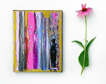 Fine art, Modern Abstract Painting Original ABSTRACT PAINTINGS Pink and Gold modern art painting on canvas 8x10 inch Contemporary Art
