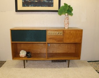 Mid Century Modern, danish, retro, walnut and brass Heithkit Record player and cabinet