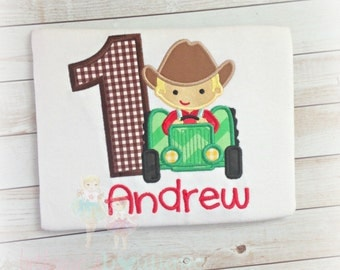 Farm Tractor Birthday Boy Shirt- Custom Birthday Shirt- Farm Animal Birthday