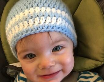 Stripe Beanie Everyday Hat - Blue White Crochet Warm Soft Beanie Photo Prop - MADE TO ORDER