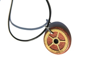 Wooden and Copper Steampunk Gear Pendant