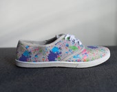 Vintage Paint Stains Print Canvas Sneakers Size 6.5