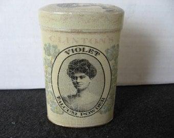 Vintage Clinton's Violet Talc Powder Tin