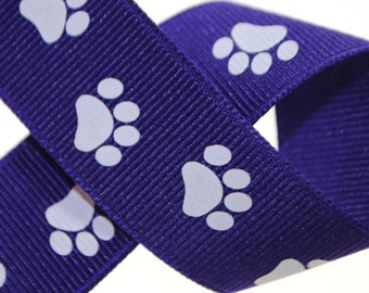 Paw Prints Purple with White 7/8 inch wide - Three, Five, or Ten Yards