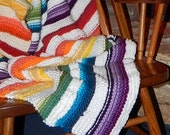 Rainbow Stripes with Clouds Hand Knit Afghan Throw Wool Acrylic Polyester Fibers White Violet Blue Green Red Orange Yellow