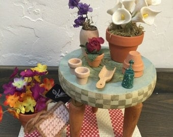 Barbie Doll House POTTER'S TABLE VIGNETTE Room Furniture & Accessories Garden Flowers Veggies