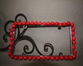 Bling  License Plate Frame - Orange/coral bevel cut beaded #A221320809
