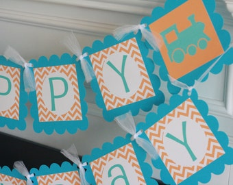 Happy Birthday Vintage Orange Turquoise Blue Chevron Train Theme Banner - Ask about Our Party Pack Special - Free Ship Over 60.00