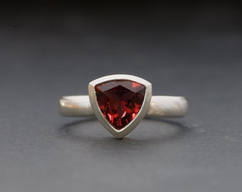Red Garnet Ring - Red Gemstone Ring - Trillion Garnet Ring set in Sterling Silver -  Made to order - Free Shipping