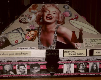 Jewelry Box,Old Hollywood Glamour,handmade,keepsake box,makeup storage,magazines,toiletries,hair accesories,bath and beauty,gift for her