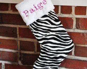Christmas Stocking Black Zebra Stripe no.526
