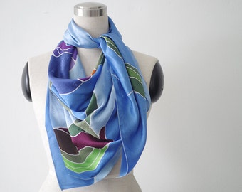 Large square silk scarf in purple and blue. Floral silk scarf shawl wrap. Iris flowers hand painted square scarf Gift for mother art scarves
