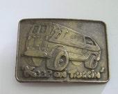 Keep on Truckin' - belt buckle- 1970s buckle-brass- buckle-van