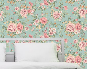Haute Couture Removable Wallpaper-Dainty Roses- Peel & Stick Self Adhesive Fabric Temporary Wallpaper- Never Vinyl, Always Fabulous