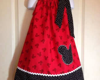 Mickey Mouse dress/Mickey Mouse Pillowcase dress/Disney dress/Disney Mickey Mouse dress/Mickey Ears dress/ Minnie Mouse Dress/Mickey Mouse