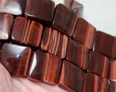 """Red Tigers Eye 20mm square double drilled hole square beads full 8"""" strand"""