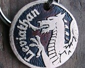 Dog Tag, Pet Tag, Etched Dog or Cat Tag, Brass Custom Pet ID, Welsh Dragon Head