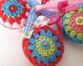 Set of 3 Crocheted Christmas ornaments  bright colours