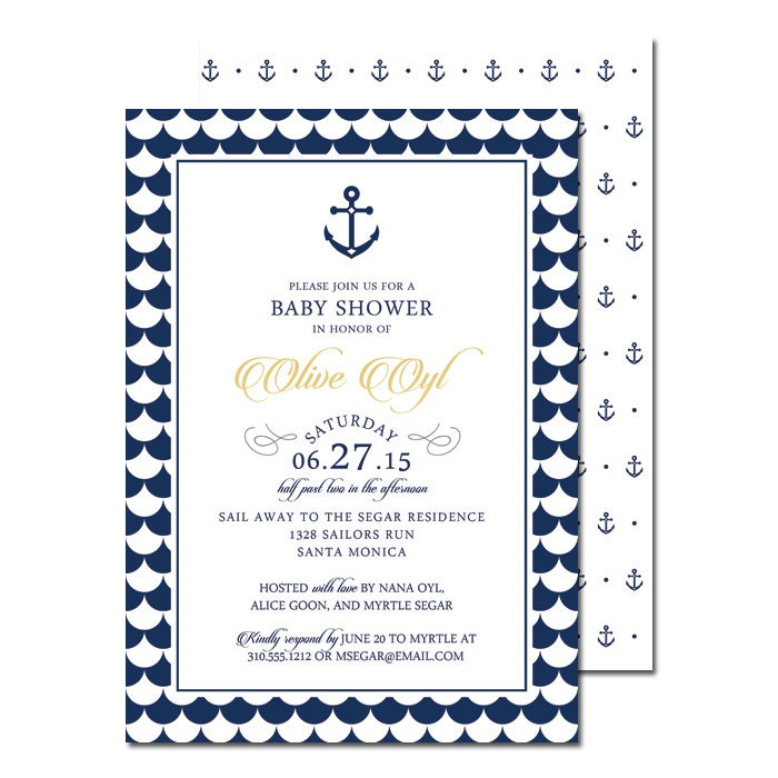 nautical baby shower invitation and registry insert card