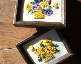 2 Vintage Crewel Embroidered Still Life Floral Bouquet Baskets of purple pansies and Black-eyed Susan's, Framed and in Mint Condition