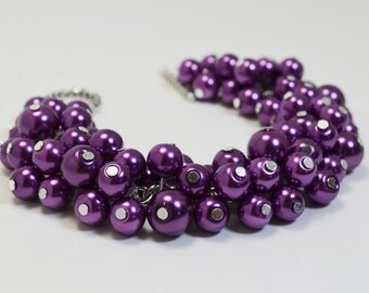 Pearl Bracelet, Purple Pearl Cluster Bracelet, Pearl Bridal Jewelry, Chunky Bracelet, Amethyst Bridesmaids Jewelry,Pearl Cluster Bracelet.