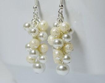 Pearl Cluster Earrings, small cluster earrings, pearl chunky earrings, pearl jewelry, ivory pearl earrings, bridesmaid cluster earrings
