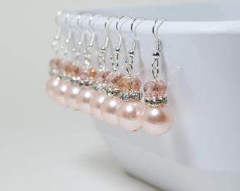 Pearl Earrings, pink pearl earrings,blush wedding jewelry, blush bridesmaid jewelry, blush pearl earrings, pearl and crystal dangle earrings