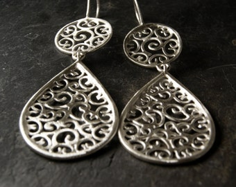 Filigree Teardrop Earrings in Sterling Silver
