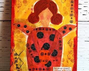 Ladybug Girl Mixed Media Painting, Original Artwork on 6x9 Canvas, Home Decor, Wall Hanging, Children's Room Art, Halloween Painting