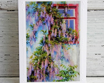 Red Window with Blooming Wisteria Photo Greeting Card with Painterly Effect, White Blank All Occasion Notecard, Fine Art Photography