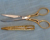 Vintage Scissors Solingen Germany Gold Plated Embroidery Sewing Scissors Embossed Case and Handles Ornate