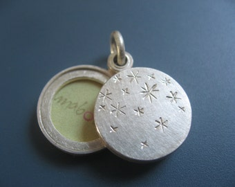 Silver locket sterling silver two pictures locket stars night sky 14mm