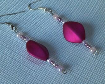 Hot Pink Satin Finish style Almond shaped Earrings, Bold Pink Dangle Earrings, SPRING Earrings, Spring Jewelry Sale