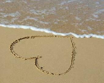 Beach Photograph of Heart drawn into sand