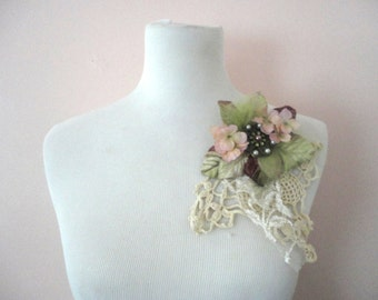 Flower Brooch, Bohemian Shabby Chic, Pinks and Greens, Victorian Inspired Nosegay, Upcycled Lacy Brooch, Velvet Flower Brooch