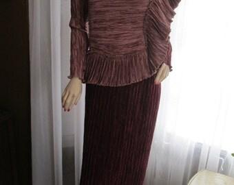 1980's MARY McFADDEN Wine/Mauve Colored Silk Fortuny Pleated Dress