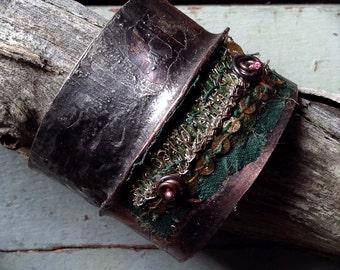 Copper cuff | Foldformed cuff | Rustic copper cuff | Embellished  cuff | Grunge jewelry | Rustic tribal | Boho cuff | Boho bohemian