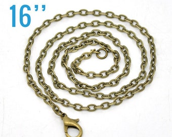 """24 WHOLESALE Necklaces Anitque Bronze with Clasps - 3x2mm Flat Link -  16""""  -  Ships IMMEDIATELY  from California - CH173b"""