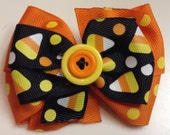 Orange Yellow and Black HALLOWEEN Polka Dot Fall Candy Corn Boutique Style Ribbon Bow Handmade for PETS Dog Collar Accessory
